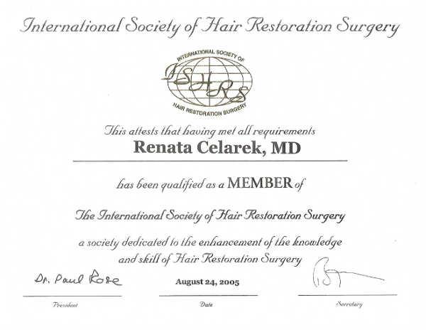 certyfikat ISHRS - przeszczep włosów Rzeszów